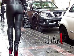 Hooker & slave:  julie S. all in leather &louboutin boots