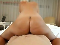hot blonde babe give a bj and riding on a dick