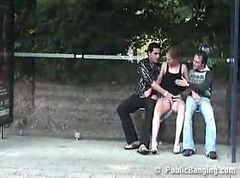Public group sex on busstop