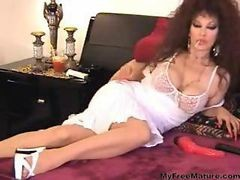 Sexy Granny Brunette Solo Smoking And Lounging On Bed Mature Mature Porn Granny Old Cumshots Cumshot